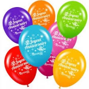 """Sachet de 10 ballons  de baudruche multicolores """"Joyeux anniversaire"""""""