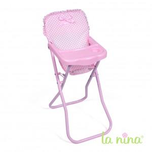 Chaise haute de poupée  pliable, assise en tissu vichy rose