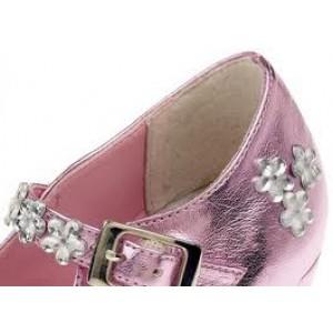 Chaussures de bal de princesse en simili cuir couleur rose irisé, taille 25