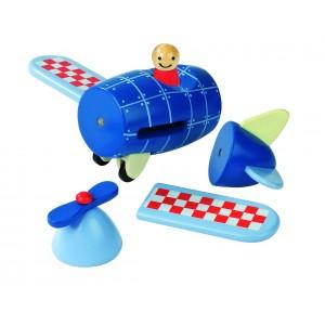 Avion en bois, construction magnétique