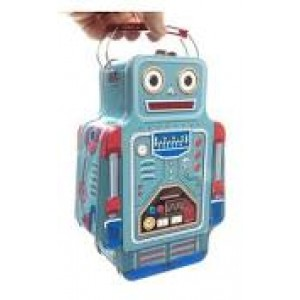 Boîte à goûter en métal en forme de robot