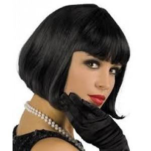 Perruque de qualité supérieure , coupe de cheveux au carré avec frange, couleur noire,cabaret années 20