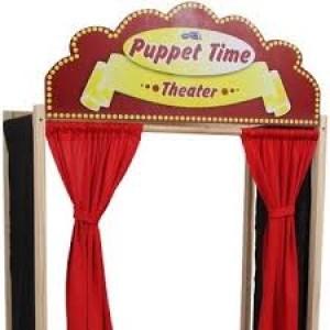 Théâtre de marionnettes castelet en bois et tissu, Guignol